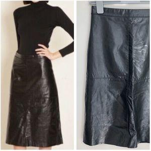 Vintage 90s Gap genuine leather black a line skirt